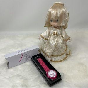 NIB pink Avon crusade strap watch & angel